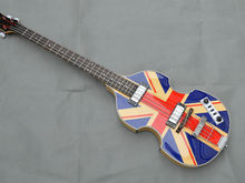HandMade Semi Hollow Body Violin Electric Bass guitar,British flag Top,Flame maple Back & Sides,Best 4 Strings BB2 Beatles Bass