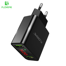 Buy FLOVEME USB Charger 2 Ports LED Display Smart Mobile Phone Charger iPhone Samsung Xiaomi Tablet Wall Travel Adapter EU Plug for $6.99 in AliExpress store