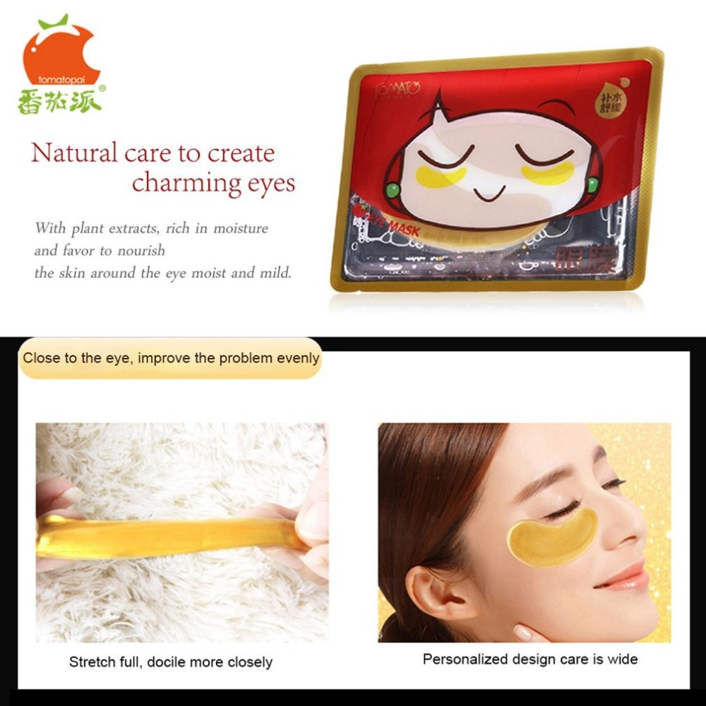 TOMATO PIE 140G Smooth Collagen Firming Moisturizing Eye Mask Gold Osmanthus Remove Dark Circles Skin Care Eye Masks Treatment 12