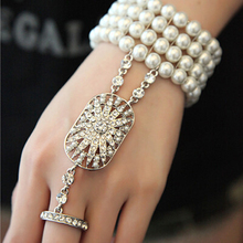 The Great Gatsby Bracelets Bella Fashion Pearl Bridal jewelry Bridal Bridesmaid Clear Stretch Austrian Bracelet Set for Women(China)