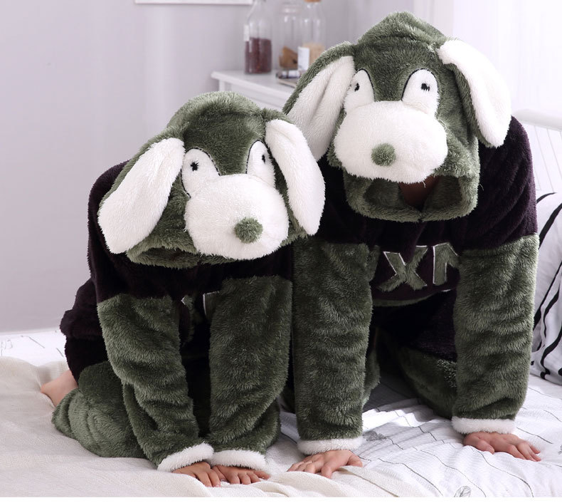 3D Winter hooded pajamas set front pockets letters unisex kawaii lovers home clothes thick women men animal sleepwear suits