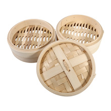 2 Tier Kitchen Cookware Bamboo Steamer Natural Steamer Folding Basket Rice Vegetables Dim Sum Fish Food Cooking(China)