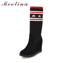 Meotina Winter Mid-Calf Boots Women Knitted Sock Boots Platform Wedges Increasing High Heel Boots Warm Female Shoes 2018 Black(China)