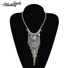 Bohemia Collier Femme Vintage Antique Silver Plated  Coins Long Tassel Pendant Colar Statement Necklace For Women Gift