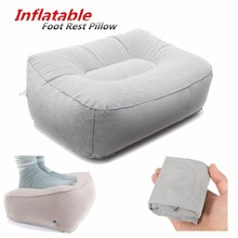 Portable PVC Train Flight Inflatable Foot Rest Pillow Pad Mat Footrest Pillow Home Outdoor Foot Relief Cushion Travel Supplies