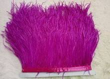 Ostrich feather trims 1 Yards/lot 10-15cm height Ostrich feather fringes Mei red