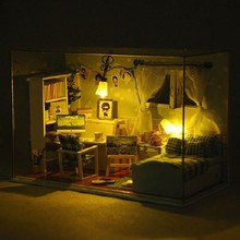 DIY LED Miniature Dream Bedroom Doll House Wooden Handmade Toys With All Furnitures Assemble Home Decoration Dollhouse Model Kit