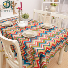 Pope cotton&linen twill cloth tablecloths Pure academic styles fresh wave pattern table tablecloth tea table cloth