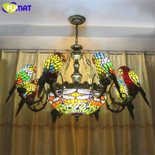 FUMAT Parrots Dragonfly Tiffany Chandelier European Style Artistic Classical Stained Glass Suspension Light Hanging Lamp