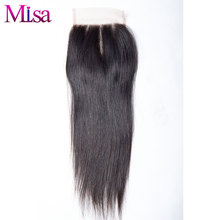 "Mi Lisa Straight Hair 4""x4"" Lace Closure 1 Piece Only 100% Human Hair Free Shipping Remy Hair Hand Tied Three Part Swiss Lace"