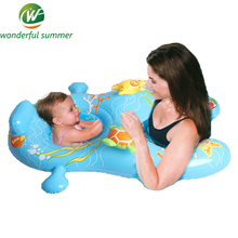 110*83cm Baby-Mother Double Swimming Ring Safe Seat Blue Cartoon Pattern Inflatable Floating Row Raft For Infant Adult Water Toy(China)