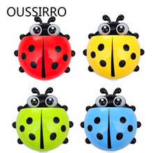 1Pcs Children Cartoon Toothbrush Holder Bathroom Vacuum Sucker Type Seven-star Ladybug Toothpaste Box Bathroom Accessories