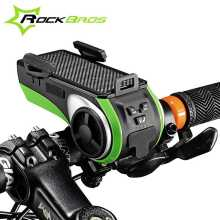 Rockbros Bike Phone Holder Bluetooth Audio MP3 Player Speaker Bell +LED Lights