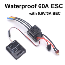 Waterproof 60A Brushless ESC Electric Speed Controller with 5.5V/3A BEC + ESC Programmer Card for 1/10 RC Car(China)