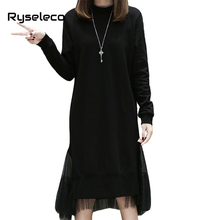 2017 New Arrival Winter Dress Women Long Sleeve Black Irregular Hem Mesh Patchwork Midi Dress Female Casual Loose Oversize Dress(China)