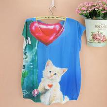 Lovely balloon cat print tshirt girls & women plus size top tees cotton blending summer tee 2015 fashion designer clothing(China)