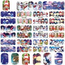 12 designs in one sets Nail Charm Xmas Christmas 2017 New Beauty Nail Art Snowman Water Sticker Decals Tips A1141-1152(China)