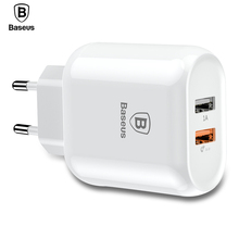 Baseus 3.0 Quick Charger Dual USB EU Phone Charger Plug iPhone X 8 Samsung Xiaomi Universal 5V/3A Travel Wall Charger Plug