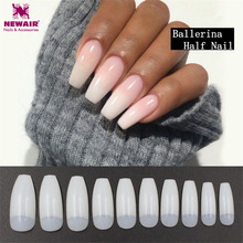 Two Color Ballerina Half Nail Tips Transparent Natural Long Coffin False Nails ABS Artificial DIY Nail Art Manicure