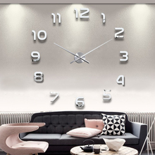"NEW Design 3D Home Living room Decoration Wall Clock 1.2m/47.24"" Big Dial Wall Clock Modern Design Wall Clock Gold/Silver Colors(China)"