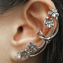 DoreenBeads New Fashion Ear Cuff Jackets On Wrap Earrings For Left Ear Flower Antique Silver Rhinestone W/Stoppers 52x 21mm(China)
