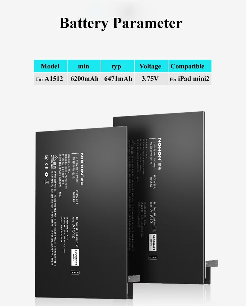 Nohon Battery For iPad mini 2 3 A1512 mini2 mini3 6200-6471mAh A1489 A1490 A1491 A1599 Bateria For Apple iPad mini 2 3 Batteries Details (01)