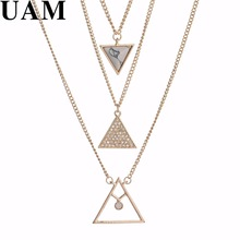 UAM New Trendy Design Multi Layer Triangle Faux Marble Stone Pendant Necklaces Jewelry Rhinestone Women Neckalce Gift(China)