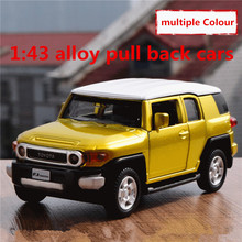 1:43 alloy pull back cars,high simulation Toyota SUV FJ model,2 open door,metal diecasts,toy vehicles,free shipping(China)