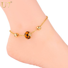 U7 Foot Jewelry Ankle Bracelets For Women Trendy Gift Gold Color Leopard Print Anklet Leg Bracelet A316(China)
