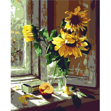 canvas painting by numbers wall decor diy picture oil painting on canvas for home decor 4050 sunflower Coloring by numbers w142