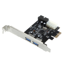 YOC-SuperSpeed 2-Port USB 3.0 PCI-E PCI Express 19-pin USB3.0 4-pin IDE Connector Low Profile