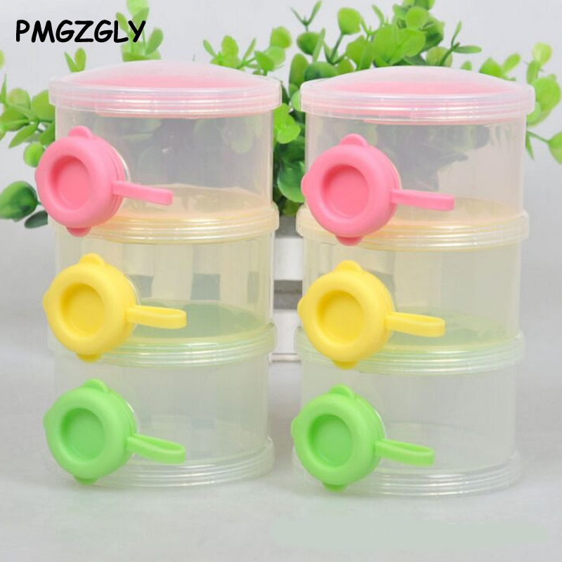 1PCS 3 Layers Portable Infant Baby Milk Powder Formula Dispenser Storage Box Bins Container Food Storage Feeding Box Side Opener