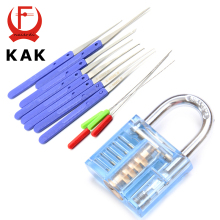 KAK Mini Blue Visible Pick Cutaway Practice Padlock Lock With Broken Key Removing Hooks Lock Extractor Set Locksmith Tool
