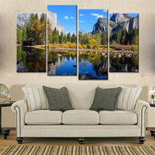 4 Panels Drop Shipping Modern Canvas Prints Wall Art Landscape Blue Sky Lake Mountains Home Decoracion Pictures Canvas No Frame