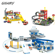 GXHMY Garage F1 Repairing Center City Police Car Service Racing Educational Toy For Children DIY Building