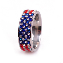 New Full Rhinestone Iced Out Flag Rings Bling Bling Rings Jewelry American USA UK Flag RIings Hip Hop Jewelry
