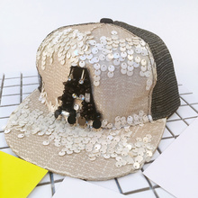2017 Summer Mesh Caps Sequins Bling Hinning Mesh Baseball Cap Adjustable Fashion Boys Girls Kids Hats For Party Club Gathering