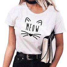 c39db63a508 Cat smile face meow cotton female Tshirt casual loose design o collar  female cute print T-shirt summer T-shirt cute T-shirt top
