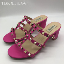 New  Women Sandals High heel Patent leather Style Square Genuine Leather Rivet Casual Slippers Summer Woman Shoes TIAN.QI.HUANG