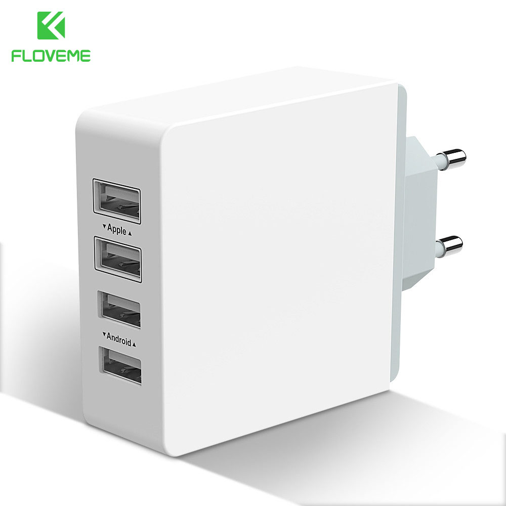 FLOVEME 4-Port USB Phone Changer Wall Charger Plug EU US Travel Adaptor USB Interface iPhone iPad Samsung Android Phone