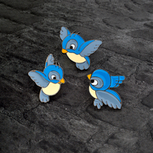 Blue bird Brooch Cartoon Cute Enamel Three birds Animal Pin Button Backpack Denim jacket Pin Collar Lapel Badge Jewelry for kids