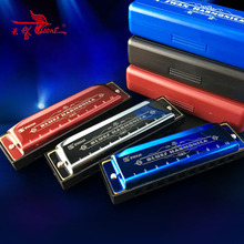 Swan 10 Holes Diatonic Blues Harp C Key Harmonica Mouth Organ Wind Musical Instrument Beginners Gifts Kids Adult Red Blue Silver