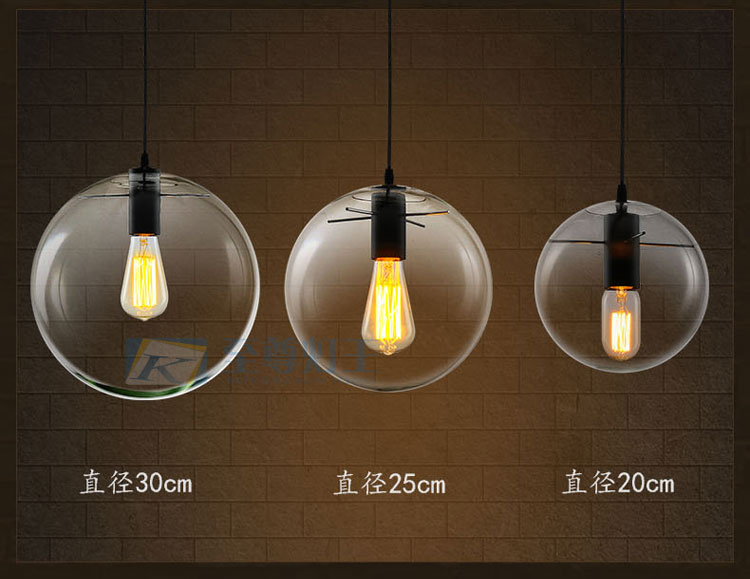 Nordic Industrial Glass Ball Pendant Lamp Restaurant Study Bar Cafe Hanging Lamp Ceiling Ligh Hall Club Store Restaurant<br>