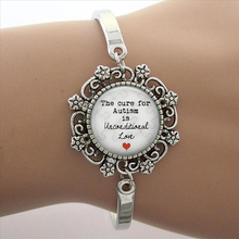 TAFREE Brand The cure for Autism is unconditional Love Glass Gem Lace Charm Bracelet Phrase Note Photo Bangle High Quality NS190