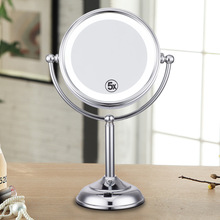 8 Inch LED Lighted Cosmetic Mirror 5x Magnification Stainless Steel 2 sided Mirror 360 Degree Rotating Table Stand Makeup Mirror