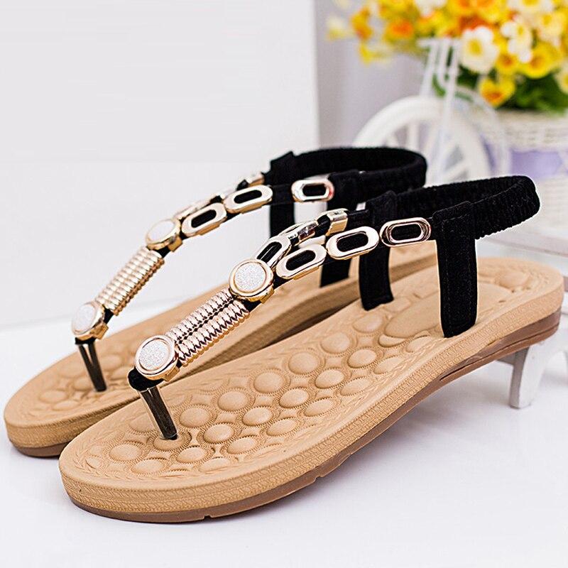 2017 summer new fashion casual women flat thong sandals rhinestone sandals Roman Beach<br><br>Aliexpress