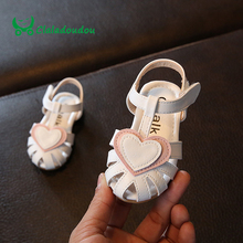 Claladoudou 11.5-13.5CM Infant Sandals Sweet Heart Soft Bottom Baby Girls Shoes White Toddler Shoe Kids Princess Baby Slippers