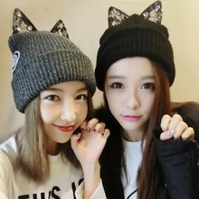 Kesebi 2017 New Hot Fashion Women Korean with Lace Diamond Lovely Cat Ears Knitted Caps Hats Female Casual Skullies Beanies