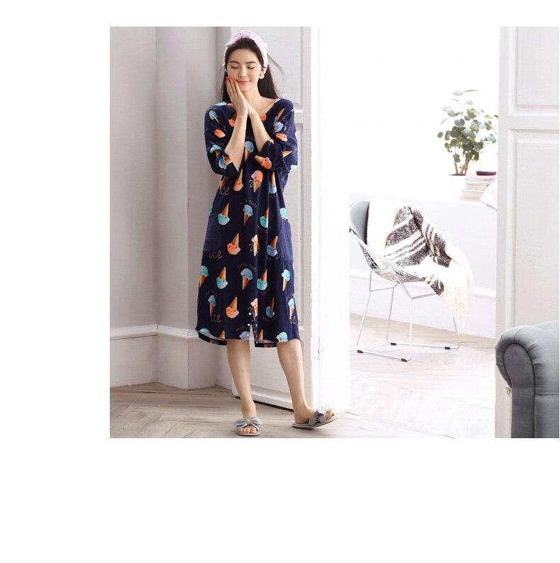 Frühling Baumwolle Pyjamas Mode Frauen Lose Pyjamas Sieben Punkt Ärmeln Haushalt Lange-röcke Set Unterwäsche & Schlafanzug Damen-nachtwäsche