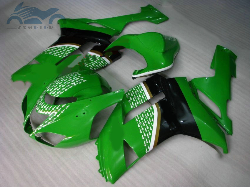 Customized fairings kit for KAWASAKI Ninja ZX 6R 2007 2008 full fairing body kit ZX6R 636 07 08 green black motor accessories title=